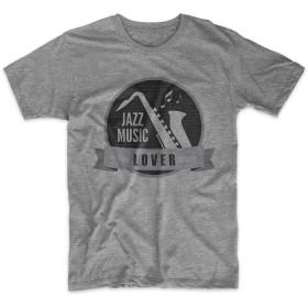 Jazz Music Lover 男性用 Tシャツ グレー Large
