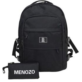 Menozo M497 ズック 大容量 高校生 リュックサック 通勤 レディース 通学 リュック メンズ バックパック (ブラック)