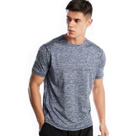 スポーツウェア Tシャツ メンズ スポーツ シャツ 半袖 速乾 (L,ネイビー)