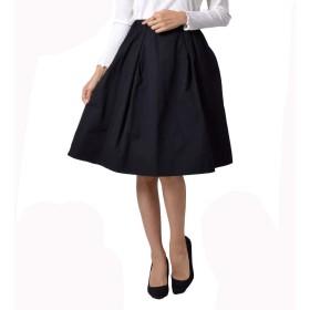 INVOLVE tuck skirt (wqn3232) (F【フリー】ウエスト64-70cmヒップ87-95cm総丈63cm, BLACK)