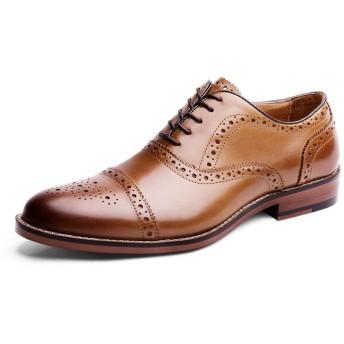 [WEWIN] (ウェウィン) ビジネスシューズ 紳士靴 メンズ レースアップ 内羽根 ストレートチップ 本革 牛革 クラシカル フォーマル ブローグシューズ Brogue リーガル