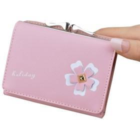 ミニ 財布 レディース 三つ折り かわいい 人気 がま口 多機能 大容量 コンパクト 軽量 プレゼント 花 1093.2cm ピンク