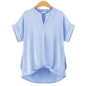 SCIEU シャツ ブラウス レディース オフィス 半袖 シャツ 大人 とろみ 通勤 シンプル OL 裾タック トップス 大きいサイズ 春 夏
