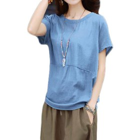 ZhongJue(ジュージェン) レディース 綿麻 tシャツ 半袖 ゆったり 無地 tシャツ 夏服 トップス カジュアル 麻tシャツ大きいサイズ ピンクtシャツ(12ブルー)