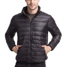ライト ダウン ジャケット メンズ 超軽量 カジュアル 防寒 暖かい 秋 冬 ウルトラライト コート (ブラック,XXXL)