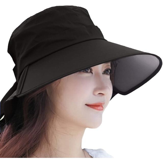 【Hat Trust】サンバイザー レディース ハット 日焼け 防止 対策 つば広 ネックカバー コットン uvカット 帽子 春夏 自転車(ブラック)