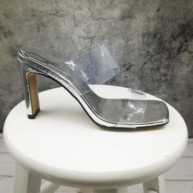 [EStart] レディスシューズ ファッションサンダルとスリッパオープンつま先透明野生のハイヒールとスクエアヘッドワード ファッション 快適 (色 : Silver, Size : US5.5)
