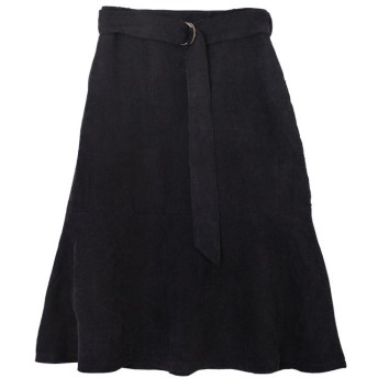 ユアーズ ベルト付裾フレアコーデュロイスカート レディース ブラック S 【ur's】
