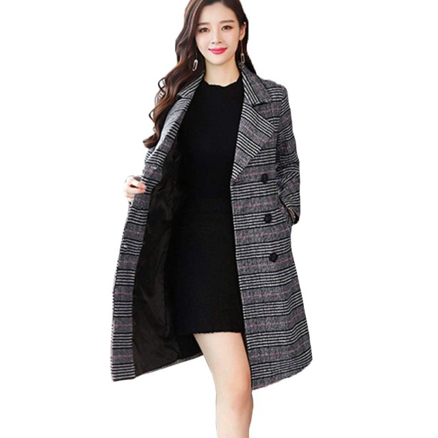 [YOUYOUOK]2018千鳥チェック柄コート ウールコート女性 中程度の長い新しい韓国語版 秋と冬 スリム ウールコートジャケット (M, 黒と白のグリッド)