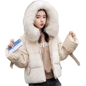 MLbossレディース 中綿ジャケット フード付き ダウンジャケット 無地 韓国ファッション ショート 綿入れコート あったか 防寒 冬服 おしゃれ 黒 ピンク(Q白)
