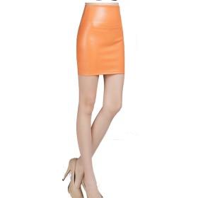 QL.HRD レザー調 セクシー 無地 タイト スカート 美 シルエット 4サイズ 22色 ( オレンジ - XL )