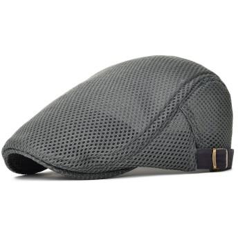 オール メッシュ ハンチング メンズ レディース 夏用 ハンチング 帽子 メッシュ ワークキャップ BDMZ124 (グレー)