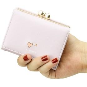ミニ 財布 レディース 三つ折り かわいい 人気 がま口 多機能 大容量 コンパクト 軽量 プレゼント ハートマーク 1183cm  パープル
