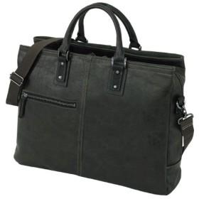 日本製 豊岡鞄 アンティーク調フェイクレザー2WAYビジネスバッグ (ブラック)
