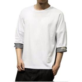 (ライズオンフリーク)RISEONFLEEK メンズ トップス 七分袖 カットソー シンプル 迷彩 カモフラージュ ファッション (07 ホワイト.XL)