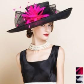 ストローハット 送料無料 フェザーフラワーリボン付き女優ストローハット♪ピンク ホワイト ブラック  麦わら帽子 ハット レディ