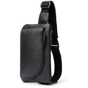 メンズ ボディバッグ ワンショルダー 斜めがけ バッグ 人気 軽量 レザー 革 ショルダーバッグ 大容量 通勤 通学 ipad mini 収納可 ウエストポーチ ブラック