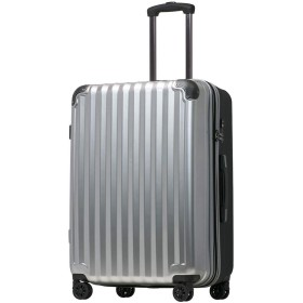 【JP Design】スーツケース キャリーケース キャリーバッグ 超軽量 tsaロック 容量アップ 拡張機能付 二枚仕切り ダブルキャスター8輪 LMサイズ ハードキャリー ファスナー (LM, シルバー/BK)