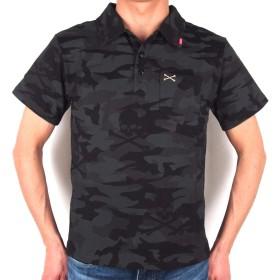 VANSON(バンソン) 半袖ポロシャツ〔クロスボーン ワンポイント 刺繍 シンプル〕NVPS-809 ブラック黒カモフラ迷彩柄 バイカー アメカジ ミリタリー 2018年夏 (M)