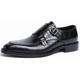 [WEWIN] ビジネスシューズ メンズ 紳士靴 革靴 本革 モンクストラップ スニーカービズ 魚型押し Uチップ 冠婚葬祭 防滑 通気 おしゃれ