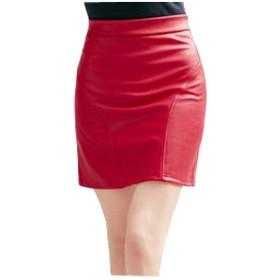 女性のスカート春の女の子ファッションシックな夏のビーチスカート夏のスカートの女性のどの革のスカートのどの革のショートスカート (Color : 赤, Size : L)