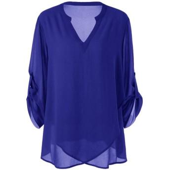 レディース トップス Rexzo 綺麗 Vネック ブラウス シフォン シフォン Tシャツ 調整可能 長袖 ティーシャツ 大きいサイズ ゆったり 上着 薄手 さっぱりした チュニック 純色 エレガント シャツ 四季適用 通勤 お出かけ