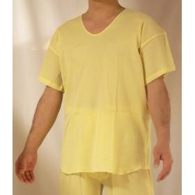【産直シャツ】高島綿クレープシャツ(U首・半そで)SG1150 (LL, イエロー)