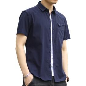 シャツ メンズ 半袖 綿100% オックスフォードシャツ カジュアル 無地 夏服 オシャレ
