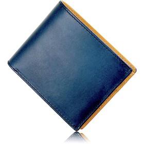 Eredità(エレディータ) 財布 二つ折り財布 革の王様ブッテーロレザー メンズ 日本製 WL11 (ネイビー)