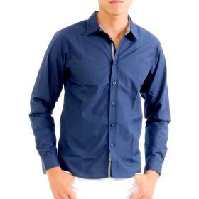 (スペイド) SPADE シャツ メンズ ブロード チェック テープ Yシャツ カッターシャツ 長袖【e588】 (L, ネイビー)