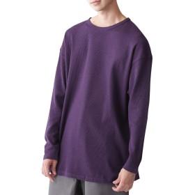 (モノマート) MONO-MART ワッフル編み オーバーロング カットソー サイドスリット ヘムライン 長袖 ワッフル Tシャツ メンズ パープル ワンサイズ