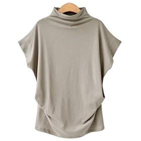 (ケイミ) KEIMI Tシャツ バタフライ袖 ドルマン チュニック シャツ レディース タイトルネック ノースリーブトップス コットン 大きいサイズ カジュアル 通勤 S~6XL  (ライトグレー, 4XL)