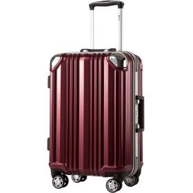 [クールライフ] COOLIFE スーツケース キャリーバッグ100%PCポリカーボネート ダブルキャスター 二年安心保証 機内持込 アルミフレーム人気色 超軽量 TSAローク (S サイズ(機内持ち込み), wine red)