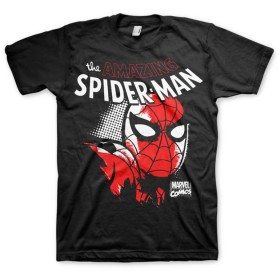 Officially Licensed Merchandise Marvel Comics Spider-Man Close Up Mens T-Shirt (Black), Large