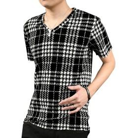 Tシャツ Vネック シェパードチェック 半袖 チェック ブラック黒ホワイト白 323642 L