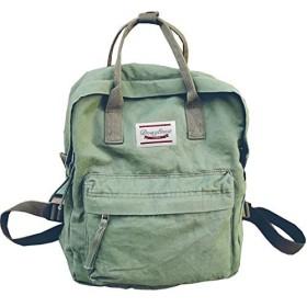 LuckyZレディースカジュアルスタイル軽量キャンバスバックパックスクールバッグトラベルデイパックミディアムハンドバッグ財布(陸軍)