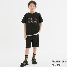 (GU)BOYSスウェットイージーハーフパンツ BLACK 150