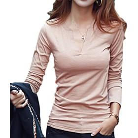 [ブルーディー] Vネック 無地 長袖 Tシャツ あったか 内面 フリース 加工 ロング スリーブ カットソー レディース ベージュ FREE