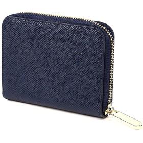 【LOUJO】 3色 本革 ミニ 財布 カードケース 小銭入れ 角シボ型押し ラウンドファスナー 手のひらサイズ レディース メンズ (ネイビー)