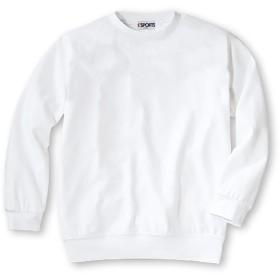 丸首体操服(白) 男女兼用 長袖 無地Tシャツ 体操着 スクール 丸首 子供 キッズ(12900) (120cm)