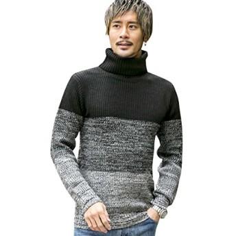 (アドミックス アトリエサブメン) ADMIX ATELIER SAB MEN メンズ ニット セーター 畦編みボトルネックセーター 02-53-6859 48(M) 黒グラデ(05) ADMIX