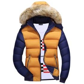 (ネルロッソ) NERLosso ダウンジャケット メンズ フード付き ファー 防寒 軽量 ショート丈 アウトドア バイク ゴルフ 登山 ジャンパー ブルゾン 大きいサイズ 正規品 M イエロー cml24115-M-ye