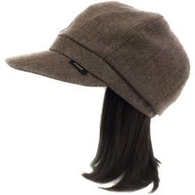 【抗がん剤治療】【毛付き帽子】 ミディアムロングwig付き キャスケット帽子(裏シルク) Ladies フリーサイズ Cheemo Hat (ブラウン)