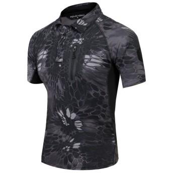 (上海物語)Shanghai Story アウトドア 速乾 シャツ タクティカル 半袖シャツ コンバットシャツ 多色選択 L Python Black