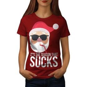 Wellcoda サンタ 帽子 おもしろいです クリスマス 婦人向け 赤 S Tシャツ