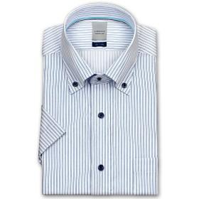 (ロードソン)LORDSON メンズワイシャツ 半袖 ボタンダウン 形態安定加工 ポリエステルボタン 脇2本針縫製 袖付け本縫い [450-43]