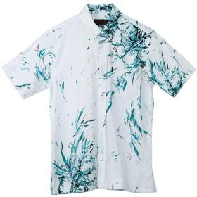 [MAJUN (マジュン)] 国産シャツ かりゆしウェア アロハシャツ 結婚式 メンズ 半袖シャツ ボタンダウン 花火花 ターコイズブルー m