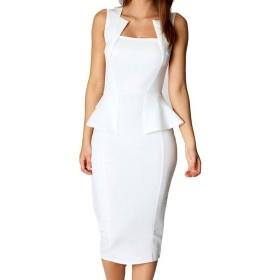女性のフラウシングノースリーブドレス鉛筆党事務所 White JBL950-White-XXL