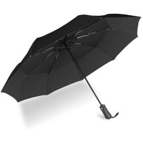 折り畳み傘 UROPHYLLA 折りたたみ傘 ワンタッチ自動開閉 傘 Teflon加工 210T高強度グラスファイバー 耐強風 メンズ レディース 晴雨兼用 収納ポーチ付き (ブラック) 2年保証が付き