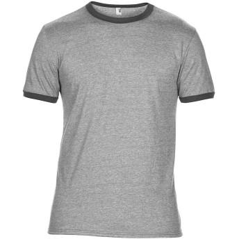 (アンヴィル) Anvil メンズ 無地 ライトウェイト 超軽量 リンガーTシャツ 半袖Tシャツ 半袖カットソー カジュアルトップス 男性用 (M) (ヘザーグレー/ヘザーダークグレー)